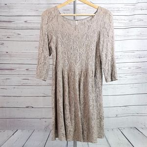 Free People Shake It Up taupe tan lace lined dress